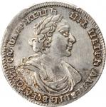 1/2 Ruble (Poltina), ND (1719)-L. Peter I (The Great) (1689-1725). PCGS Genuine--Cleaning, EF Detail