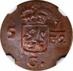 1809年荷兰东印度巴达维亚共和国1/2 Duit 。NETHERLANDS EAST INDIES. Batavian Republic. 1/2 Duit, 1809. NGC MS-64 Bro