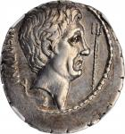 SEXTUS POMPEY. AR Denarius (3.83 gms), Massilia Mint; Q. Nasidius, commander of the fleet, 42-38 B.C