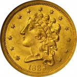 1838 Classic Head Quarter Eagle. McCloskey 1-A, the only known dies. MS-64 (NGC).