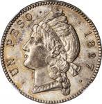DOMINICAN REPUBLIC. Peso, 1897-A. NGC AU-58.
