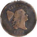 1795 Liberty Cap Half Cent. C-6a. Rarity-2. Plain Edge, No Pole. Thin Planchet. VG Details--Rim Dama