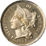 1885 Nickel Three-Cent Piece. Proof-66 Deep Cameo (PCGS).