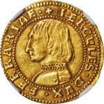 ITALY. Ferrara. Ducat, ND (1471-1505). Ericole I DEste. NGC AU-50.