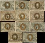 Lot of (11) Fr. 1244, 1245, 1246 & 1247. 10 Cents. Second Issue. Extremely Fine to Uncirculated.
