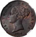 GREAT BRITAIN. 1/2 Penny, 1854. London Mint. Victoria. NGC MS-63 Brown.