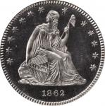 1862 Liberty Seated Quarter. Proof-64 Cameo (PCGS). CAC.