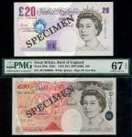Bank of England, M. Lowther, 」50, 1999, serial number J01 000606, also a 」20, 1999, serial number AA