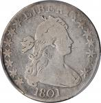 1801 Draped Bust Half Dollar. O-102, T-1. Rarity-4+. VG-8 (PCGS).