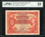 Government of Sarawak, $10, 1.7.1929, serial number C/1 003543, (Pick 16), PMG 25 Very Fine
