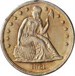 1861 Liberty Seated Silver Dollar. OC-2. Rarity-3+. AU Details--Plugged (PCGS).