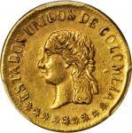 COLOMBIA. 1863 Peso. Medellín mint. Restrepo 321.1. AU-55 (PCGS).