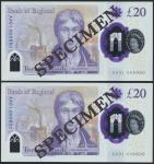 Bank of England, Sarah John, polymer £20, ND (20 February 2020), serial number AA01 000550/600, purp