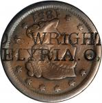 D.S. WRIGHT / ELYRIA. O. on an 1851 Braided Hair large cent. Brunk-Unlisted, Rulau-Unlisted. Host co