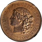 1878年阿根廷2分铜试作样币。 ARGENTINA. Copper 2 Centavos Essai (Pattern), 1878. NGC MS-62 Red Brown.