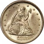 1875-S Twenty-Cent Piece. BF-13. Rarity-2. Misplaced Date, Repunched Mintmark. MS-65 (PCGS).
