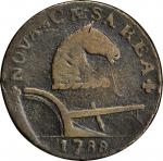 1788 New Jersey Copper. Maris 75-bb, W-5520. Rarity-4. Horse's Head Right, Running Fox Before Legend
