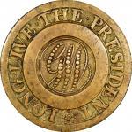 Circa 1789 Washington Inaugural Button. Dotted Script GW, LONG LIVE THE PRESIDENT. Baker-1001, var.,