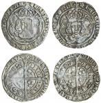 Henry VII (1485-1509), Groats (2), type IIIBii, 2.98g, m.m. escallop/pansy, henric etc fran, rosette