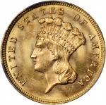 1879 Three-Dollar Gold Piece. MS-64 (PCGS).