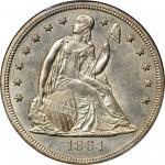 1864 Liberty Seated Silver Dollar. OC-1. Rarity-2. Repunched Date. MS-63 (PCGS).