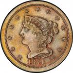 1854 Braided Hair Half Cent. Cohen-1, Breen-1. Rarity-1. Mint State-66 RB (PCGS).