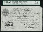 Bank of England, B.G. Catterns, £5, Manchester 1 May 1929, prefix 389U, black and white, ornate crow