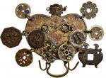 韩国腰带挂饰花钱。KOREA. Choson Dynasty. Purse Shaped Chatelaine & Attached Charms, ND (ca. 19th Century). VE