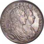 GREAT BRITAIN. William & Mary Coronation Silver Medal, 1689. UNCIRCULATED Details.