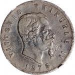 意大利5里拉一组3枚,1872,1874及1875年,均为M BN铸币印记,中乾分别评VF35,XF40及VF25