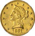 1851-O Liberty Head Eagle. Winter-1. AU-55+ (NGC).