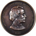 1865 Andrew Johnson Indian Peace Medal. Large Format. Bronzed copper. 76 mm. By Anthony C. Paquet. J