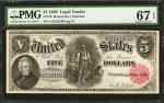 Fr. 79. 1880 $5 Legal Tender Note. PMG Superb Gem Uncirculated 67 EPQ.
