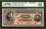 ARGENTINA. Banco Nacional. 200 Pesos, 1883 First Issue. P-S683s. Specimen. PMG About Uncirculated 55
