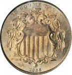 1866 Shield Nickel. Rays. MS-66 (PCGS).