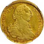 CHILE. 8 Escudos, 1795-So DA. Santiago Mint. Charles IV. NGC AU Details--Rim Damage.