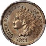1871 Indian Cent. Bold N. MS-64 BN (PCGS). CAC.