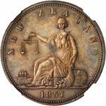 NEW ZEALAND. Dunedin. A.S. Wilson. Penny Token, 1857. NGC AU-55 BN.
