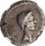 JULIUS CAESAR. AR Denarius, Rome mint; L. Mussidius Longus, moneyer, 42 B.C. NGC F. Edge Marks.
