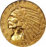 1908-S Indian Half Eagle. AU-55 (NGC).