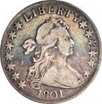 1801 Draped Bust Half Dollar. O-101, T-2. Rarity-3. Fine-12 (PCGS).