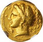 ITALY. Calabria. Tarentum. AV Hemistater (Drachm) (4.23 gms), ca. 320-315 B.C. NGC VF, Strike: 5/5 S
