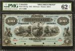 COLOMBIA. Banco Hipotecario. 100 Pesos. October 1, 1881. P-S515s. Specimen. PMG Uncirculated 62 Net.
