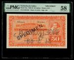1927年荷属爪哇银行50盾样票加盖于流通票,编号GX01904,PMG 58有防伪盖章,罕见