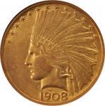 1908 Indian Eagle. No Motto. AU-50 (ANACS). OH.