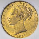 GREAT BRITAIN Victoria ヴィクトリア(1837~1901) Sovereign 1869 NGC-MS62 AU/UNC
