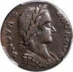 1787 Nova Eborac Copper. W-5760. Rarity-3. Medium Bust, Seated Figure Right. AU-50 (PCGS).