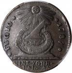1787 Fugio Copper. Pointed Rays. Newman 6-W, W-6730. Rarity-4. STATES UNITED, 4 Cinquefoils. EF-45 (