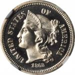 1868 Nickel Three-Cent Piece. Proof-67 Cameo (NGC).