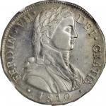 CHILE. 8 Reales, 1810-So FJ. Santiago Mint. Ferdinand VII. NGC AU-55.